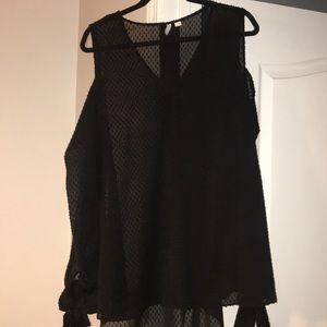 Sheer Black Textured Blouse